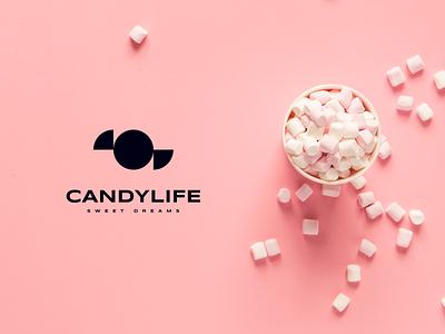 CandyLife logotype   Sweet Dreams pink candy modern logo modern branding identity branding design typography minimal logotype clean logo brand identity brand