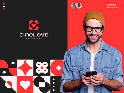 CineLove - Dating App pattern red love logo design brand logotype logo branding dating logo dating
