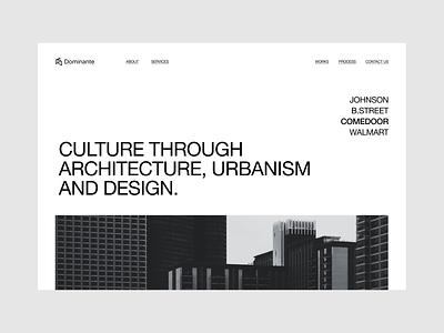 Dominante | Website concept hero clean ux interior web design