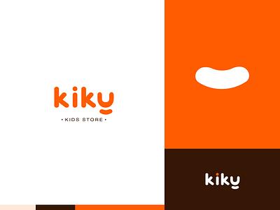 Kiky   Kids store logo concept dynamic brand identity typography clean toys store fancy fine orange colorful logotype branding design branding brand logo kids