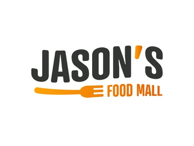 Jason's Food Mall - Logo fork mall food design vector illustrator branding logo