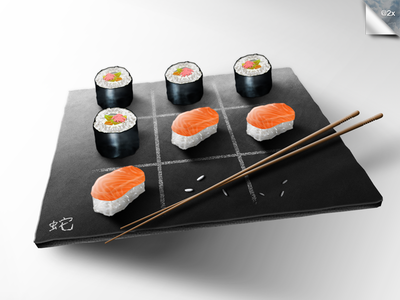 Sushis Time sushis makis tic tac toe art culinary design game food rolls kitchen