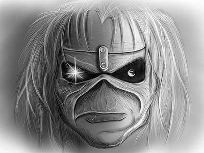 Drawing Eddie's Face ironmaiden iron maiden draw drawing photoshop eddie skull hardrock pencil sketch metal