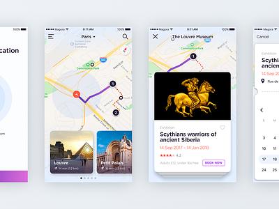 Museum Guide App booking exhibition map location mobile ux ui ios app guide museum