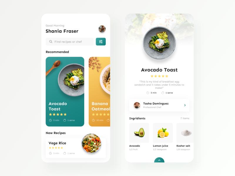 Food Recipe — Mobile App cooking app cooking recipe card foodie food and drink recipe book recipe app food app design app mobile ux ui