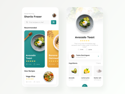 Food Recipe — Mobile App cooking app cooking recipe card foodie food and drink recipe book recipe app food app design app mobile ux ui