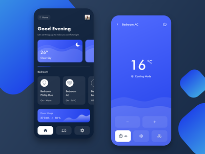 Smart Home App weather app weather air conditioner remote control smart home app  design adobe xd app android ios detail page minimal design mobile ux ui