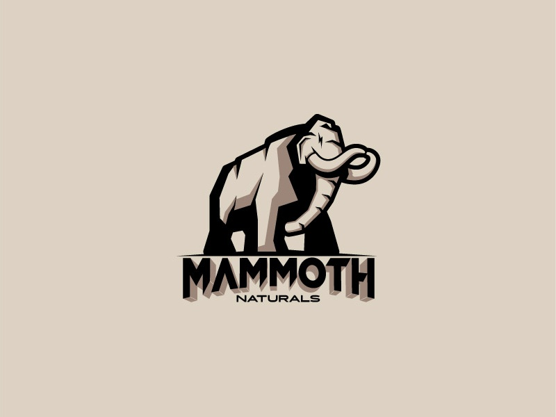 Mammoth contrast brand branding logo design big trunk tusks brown pachyderm logotype animal beast mammoth elephant logo