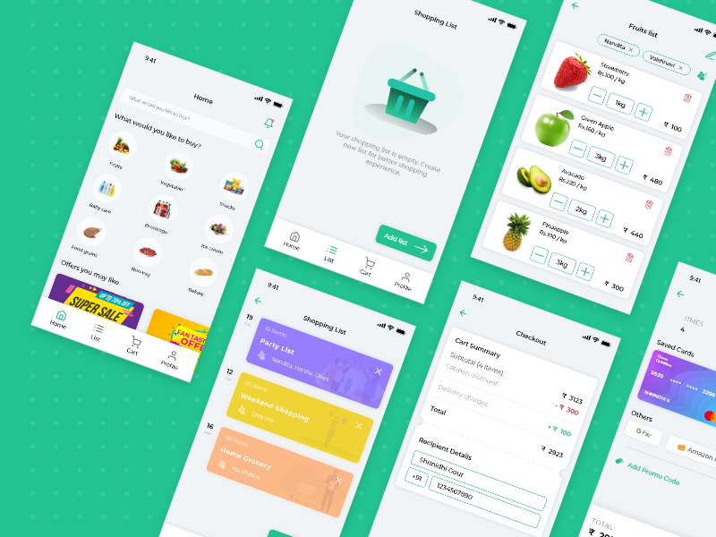 Grocery Shopping App grocery online user interface app ui app grocery shopping grocery