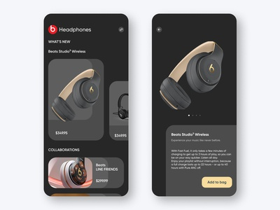 E-commerce concept UI for Beats by Dre