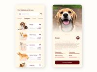 Dog adoption app concept UI
