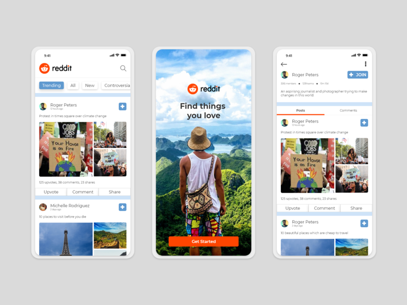 Reddit App Redesign travel all onboarding ui reddit share upvote world trending comments post ux user interface color ui minimalist app user experience search explore design