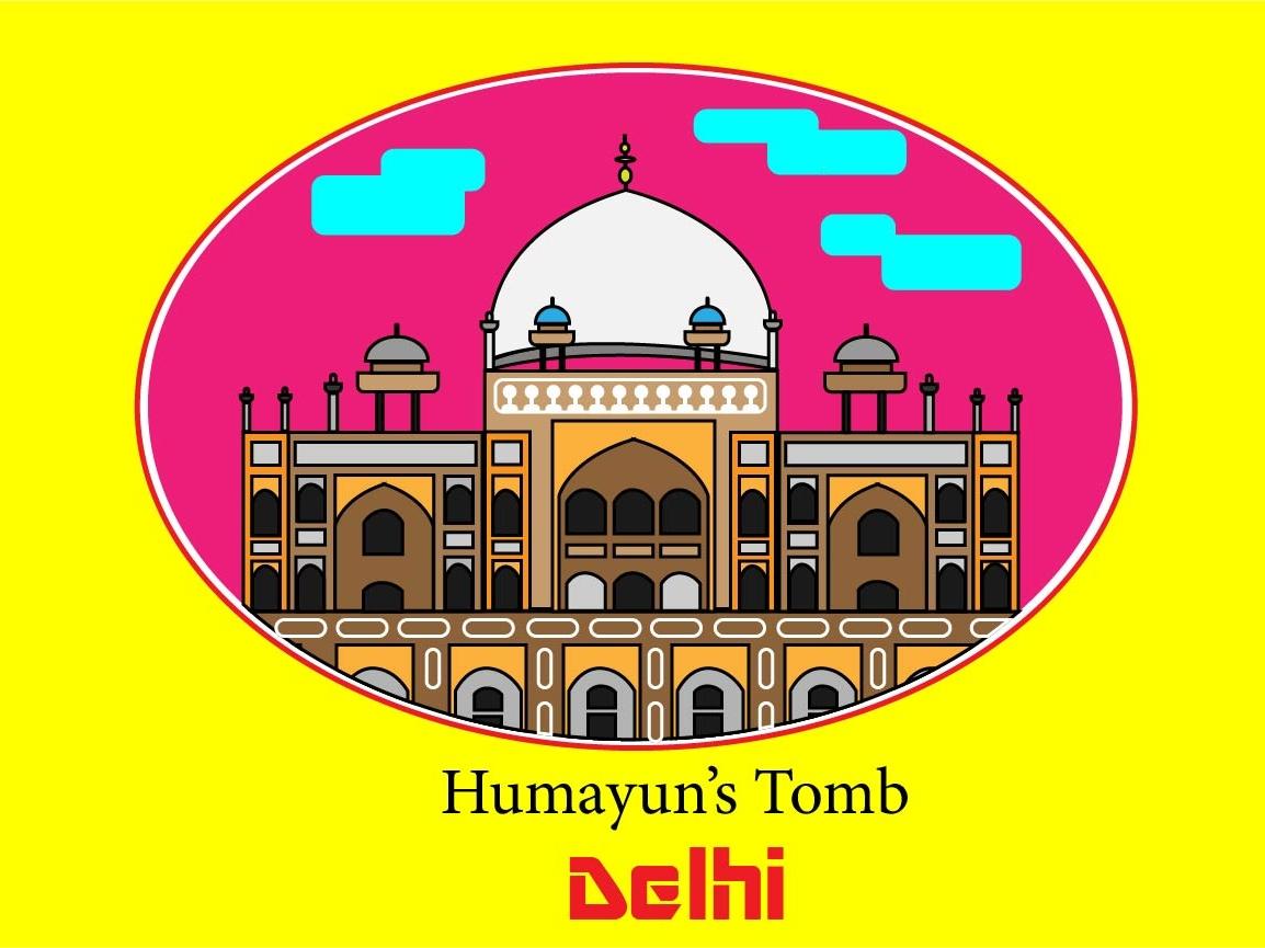 Humayun Tomb illustration design