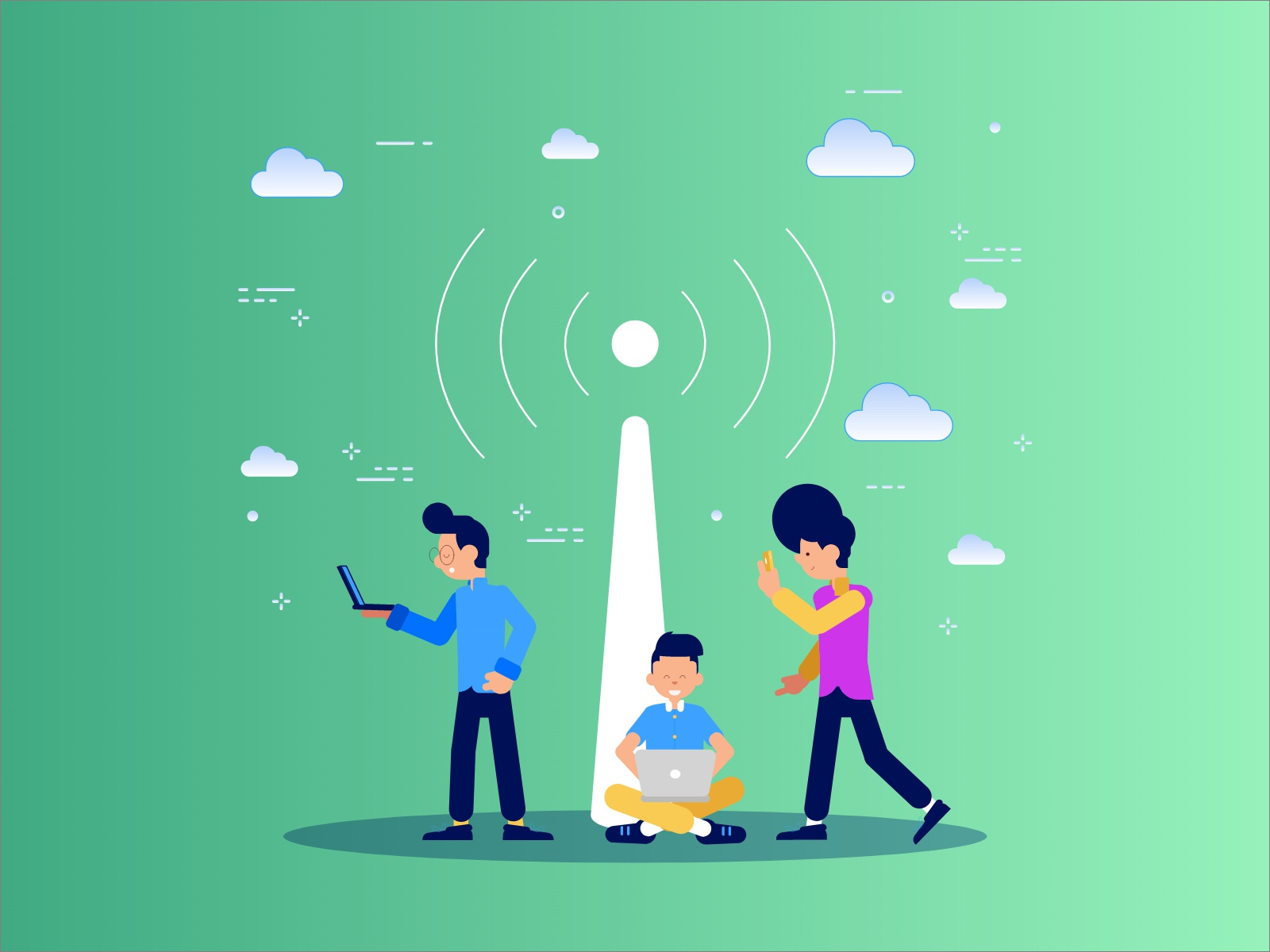 Wifi hotspot illustration by Sid yankanchi on Dribbble