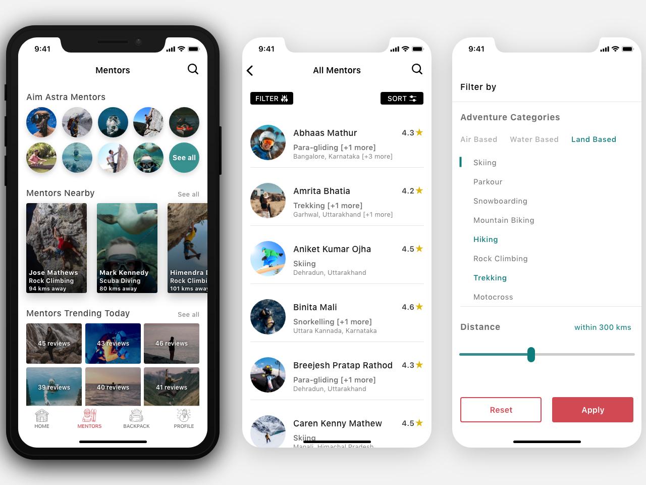 Aim Astra   Mentors Screens mentors filter app adventure design ios ux  ui