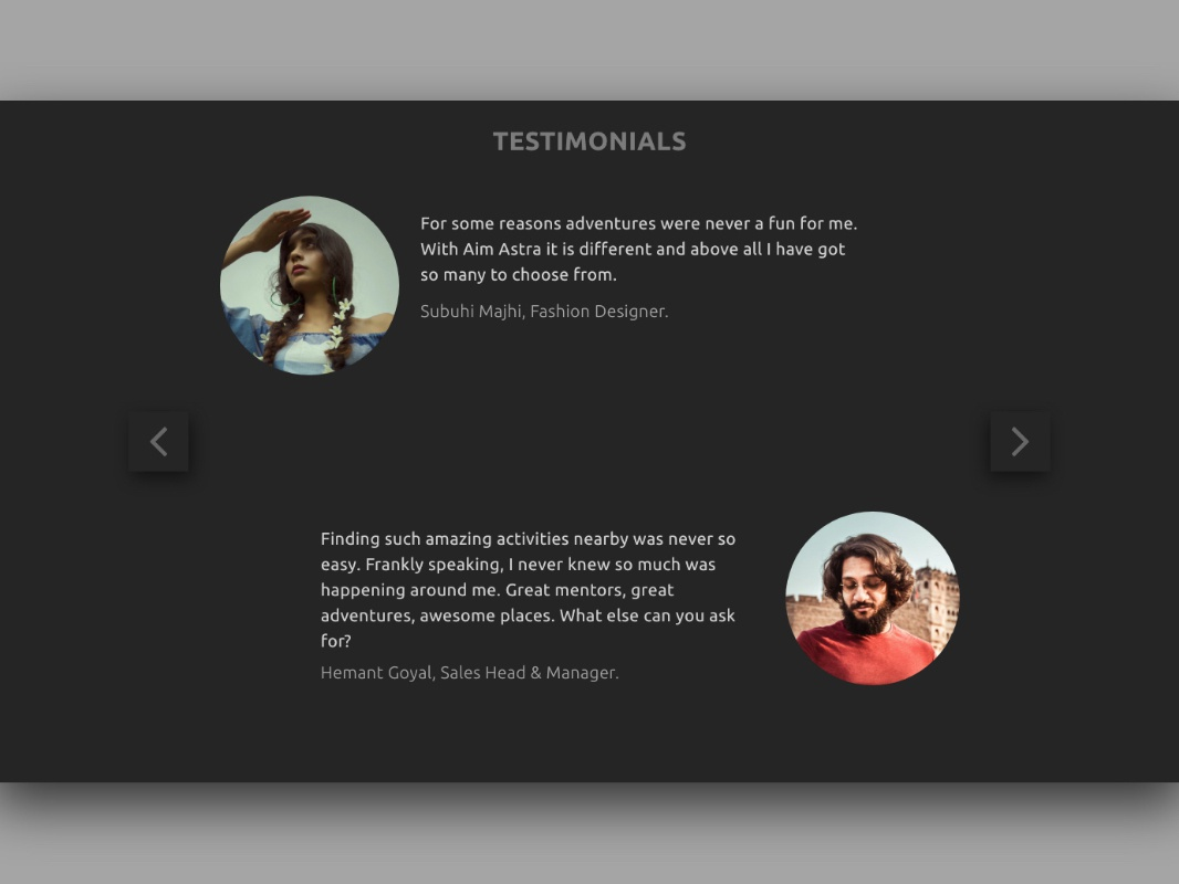 Aim Astra | Testimonials Page reviews testimonials mentors adventure design ux  ui