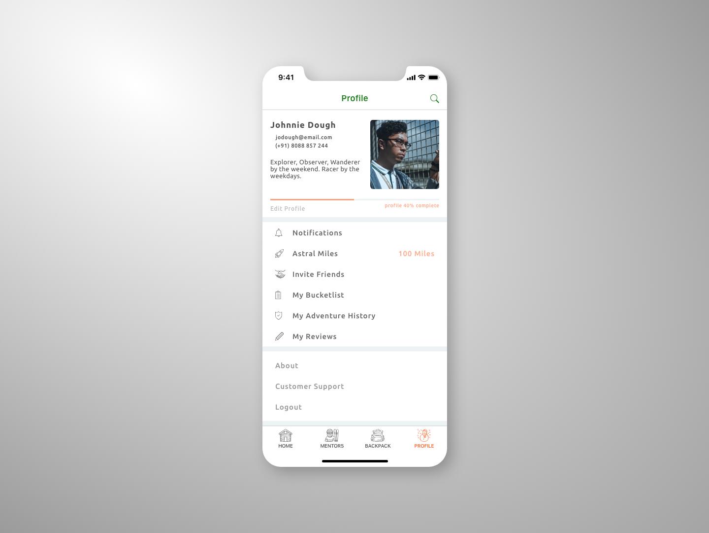 Daily UI :: 006 | User Profile typography adventure ios app design dailyui
