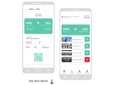 ARport Xperience   Mobile App navigation timer augmented reality boarding pass typography