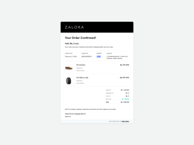 Email Receipt - Zalora (Exploration UI)