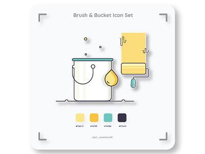Brush & Bucket Icon set colorwheel bucketlist iconsets adobe logo flat ux ui design illustrator illustration typography branding iconset icon bucket brush
