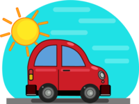 Cute car and sunshine minimal design