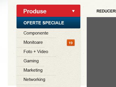 Categories List + Dropdown menu category e-shop e-store e-commerce navigation list