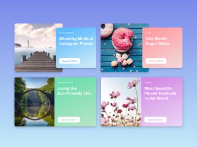 Overlay vs Flat Cards e-commerce color colours web design web ui design browse cards