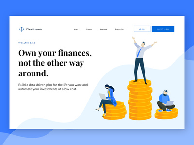 Wealth Management Homepage - Finance asset management web fintech professional corporate corporate website blue vector clean ui web design finance wealth management robo-investing roboinvestment investment