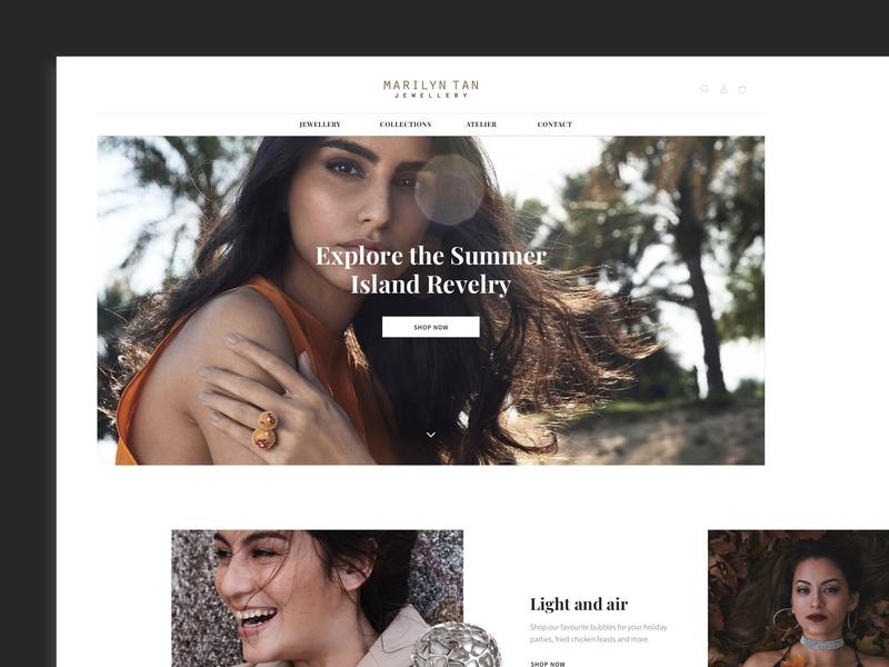 Marilyn Tan Jewelry web design colours e-commerce design clean ui web web design