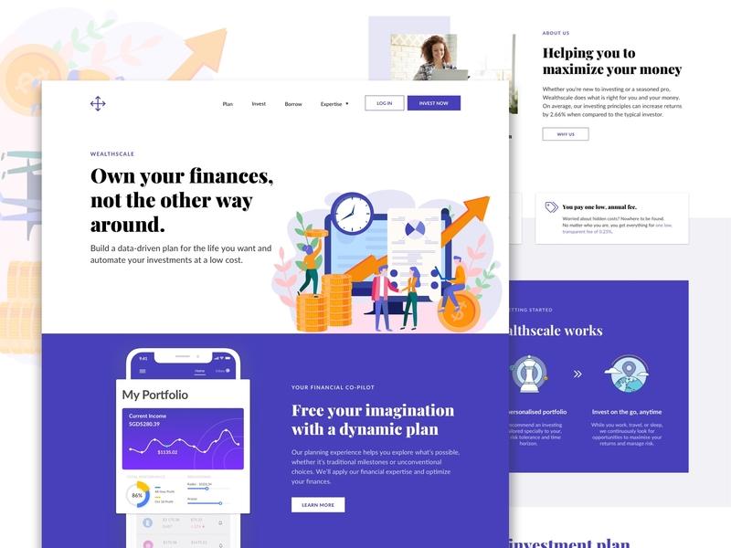 Wealthscale Web design illustration colours design ui web web design