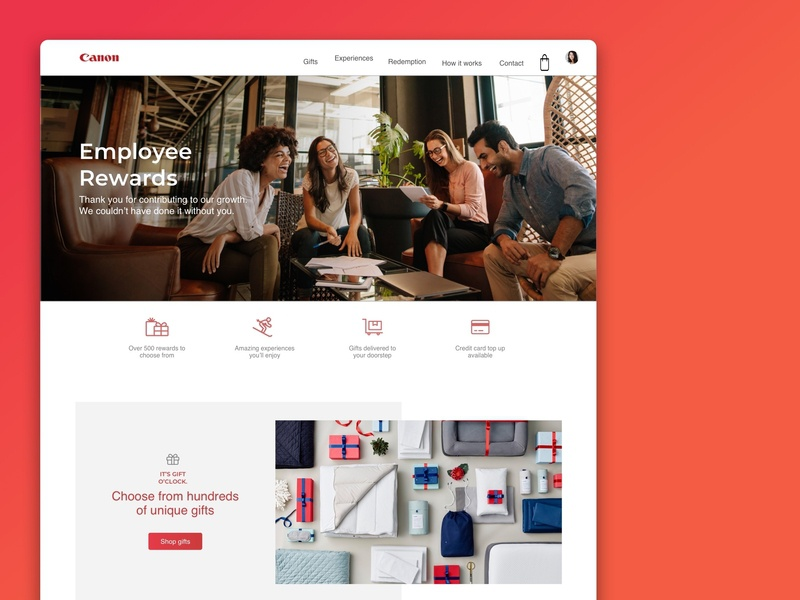Canon Employee Rewards graphicdesign interactiondesign branding illustration design colours clean web design web ui