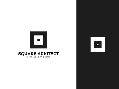 SQUARE ARKITECT logo concept icon identity flat design creative  design minimal logo graphic design branding