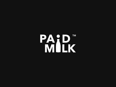 PAID MILK vector icon logo concept identity flat creative  design minimal logo graphic design branding