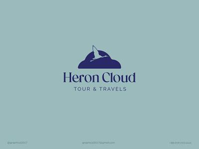 Heron Cloud minimalist logo heron cloud cloud logo heron flat logo modern logo identity graphic design creative  design minimal logo branding