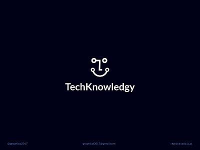 TechKnowledgy minimal concept tech industry technology minimalist tech logo icon identity graphic design creative  design minimal logo branding