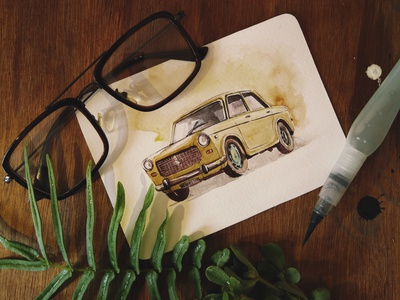 water colour drawn hand drawn vintage design old car painting illustration