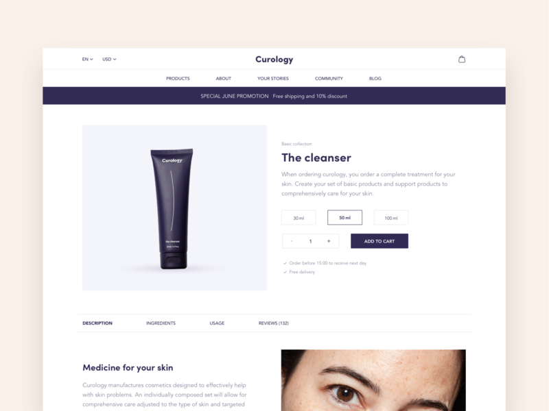 Product Page – Web Concept addtocart promotion product page web pastel cosmetics concept webdesign