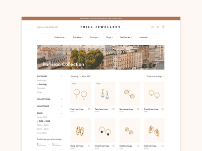 Jewellery Store – Web Concept filters product list product page ecommerce jewelry product elegant jewellery web concept ui