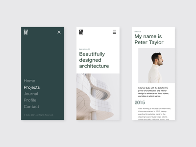 Cube Studio – Web Concept architect studio minimal minimalism green mobile architecture web ui