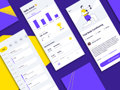 Fitness Club — Mobile App intensity schedule calendar gym fitness app concept illustration mobile app ui