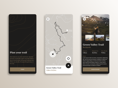 Trail — Mobile App Concept hiking travel trail app concept mobile app ui