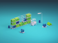 Liftsens - Animation pallet barrel crates down up warehouse technical movement industrial light led oops accident loop animation identity forklift c4d brand 3d