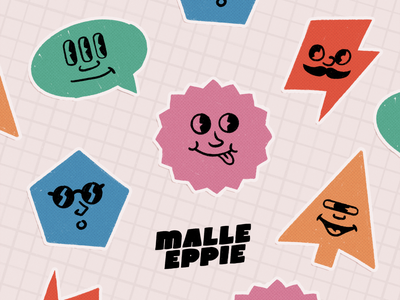 Malle Eppie Stickers colorful smileys faces stickers crazy eppie malle design branding illustration
