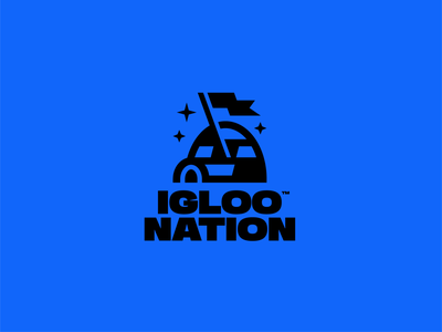 Igloo Nation flat design nordic eskimo ice nation star flag wordmark typography icon brand identity design branding flatdesign logo logomark iconmark iglo igloo