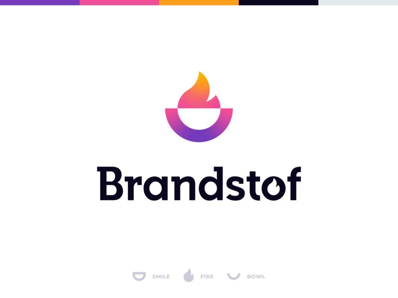 Brandstof corporate identity logomark iconmark wordmark icon gradient icon gradient community creative smile bowl fire typography vector colorful logo identity branding design