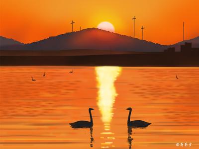 夕阳 illustration