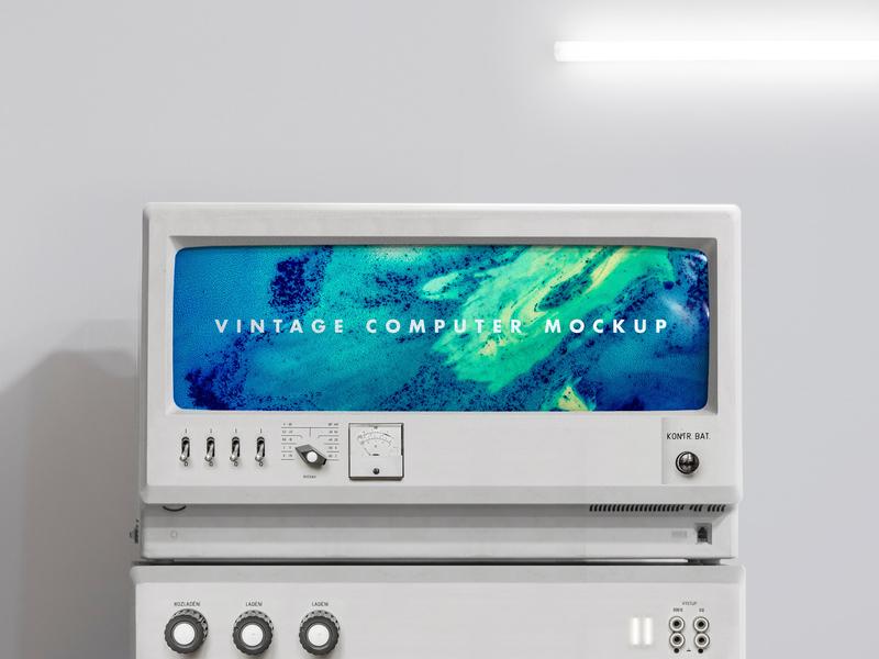 M O C K U P | Vintage computer vintage graphisme science photoshop photo-manipulation computer mockup