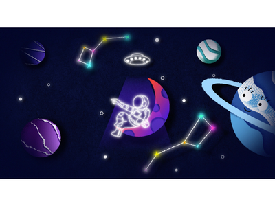 Space animations cosmos planets cartoon motion graphics illustrations motion illustrator after effects 2d animation astronaut moon space x space