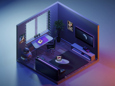 The best room for self-isolation lowpoly3d design adobe after effects animation star wars decoration coronavirus covid-19 behance bb8 room design macbook space blender 3d room