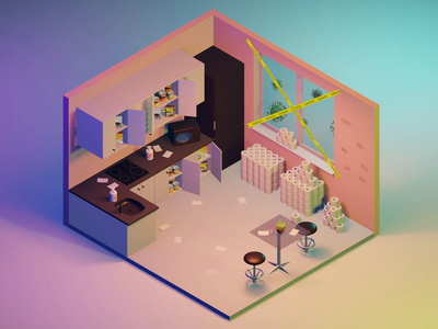 Quarantine Life low poly isometric kitchen interior design vector 3d 3d animation room virus stay home covid-19 quarantine coronavirus blue blender animation behance after effects illustration
